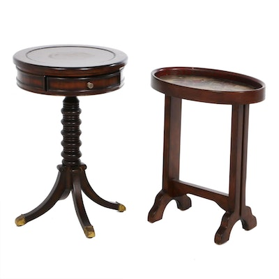 Hooker Furniture Leather Top Pedestal Table and Ethan Allen Tray Table