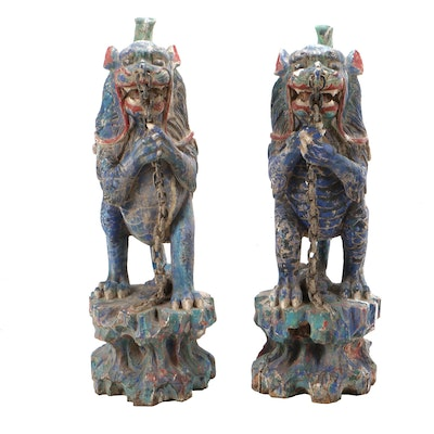 Chinese Polychrome Sculptures of Mythical Creatures