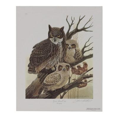 """John Ruthven Offset Lithograph """"Great Horned Owls"""", 1979"""
