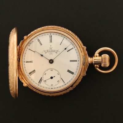 Antique Elgin 14K Gold True Box Hinged Hunter Case Pocket Watch