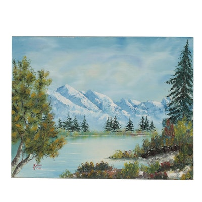 Jen Glover Acrylic Landscape Painting, 1983