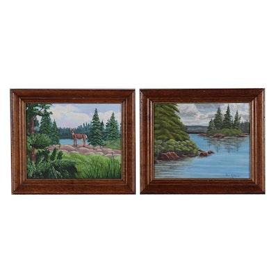 Jen Glover Acrylic Wilderness Paintings, 1972