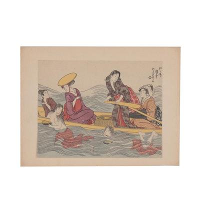 "Ukiyo-e Woodblock after Kitagawa Utamaro ""Catching Abalone in Enomshima"""