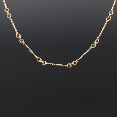 14K Yellow Gold Twisted Bar Link Chain
