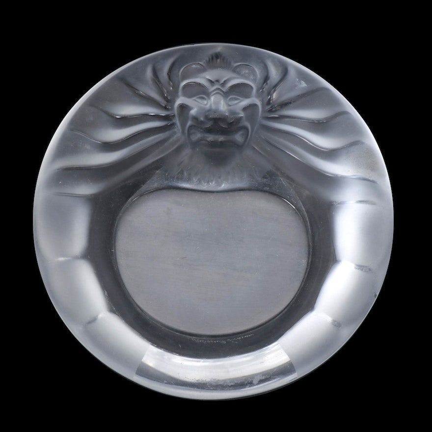 "Lalique ""Tête-de-Lion"" Frosted Crystal Ashtray"