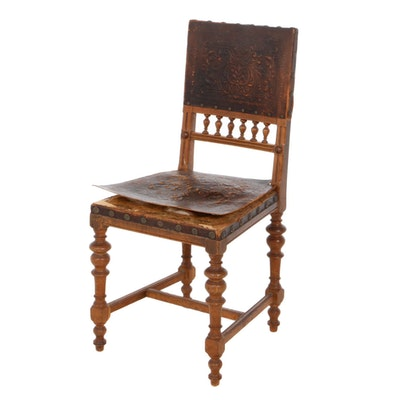 Renaissance Style Oak and Embossed Leather Hall Chair, Early 20th Century
