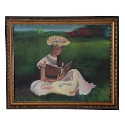 Oil Painting of Woman Reading