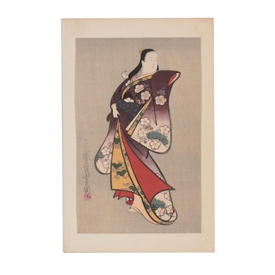 """Japanese Woodblock after Kaigetsudô Ando """"Standing Courtesan"""""""