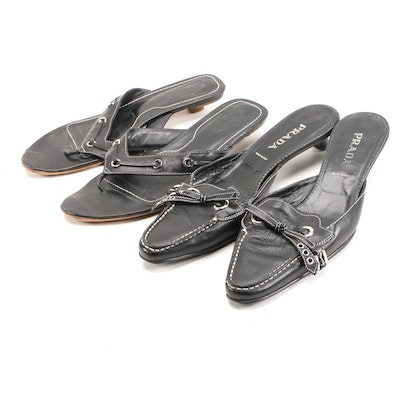 Prada Mules and Tod's Sandals in Black Leather with Contrast Stitching