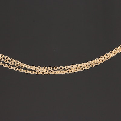 14K Yellow Gold Triple Cable Link Chain