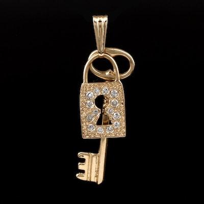 Vintage 14K Yellow Gold Diamond Skeleton Key and Escutcheon Pendant