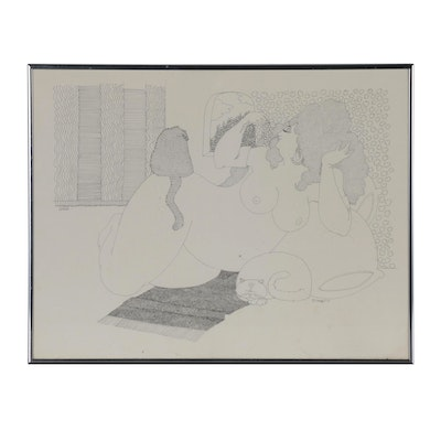 Susan Sturgill Pen and Ink Drawing of Reclining Nude with Cats