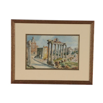 Architectural Watercolor Painting Attributed to Anna Palm de Rosa