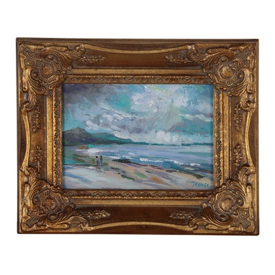 Jennie Kim Oil Painting of Coastal Scene with Figures