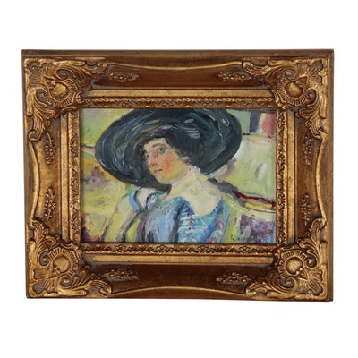 "Mary Ann Wainscott Oil Painting After Edouard Vuillard ""Woman with Hat"""