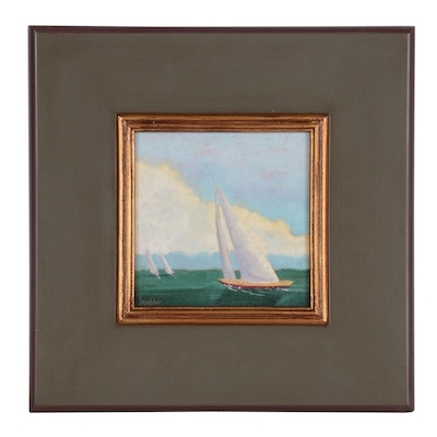 "Rick Koehler Nautical Oil Painting ""Catching Up"""