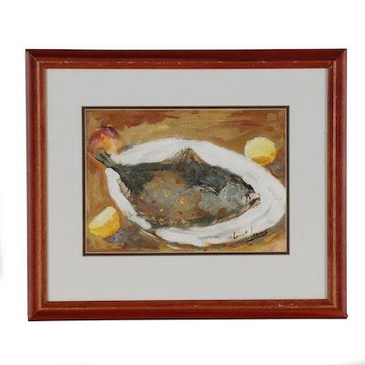 Laurent Leblanc Still Life Oil Painting of Plated Fish