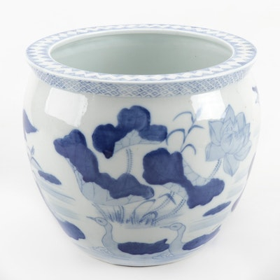 Chinese Blue and White Ceramic Planter with Pond Scene