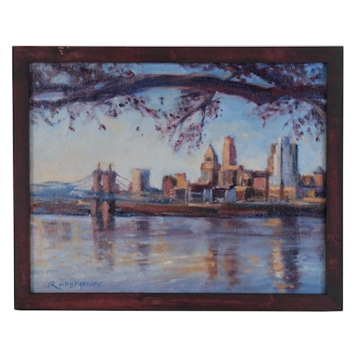 Robert Hebenstreit Oil Painting of Cincinnati Skyline