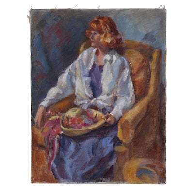 Figure Oil Painting of Seated Woman with Hat