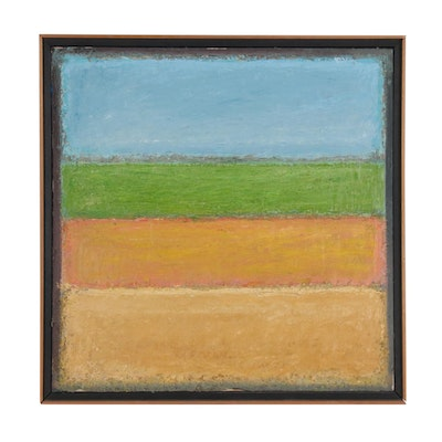 Impasto Color Field Oil Painting, Mid 20th Century