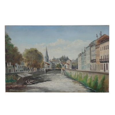 Canal Oil Painting, Early 20th Century