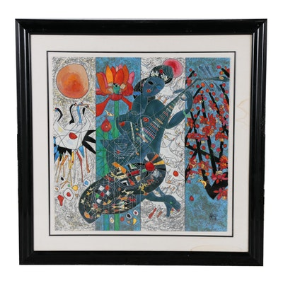 """Jiang Tie-Feng Serigraph """"Pipa Melody"""", 1990"""