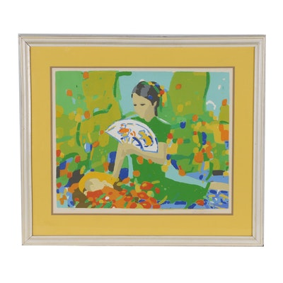 Jen Pang Serigraph of Mother and Child