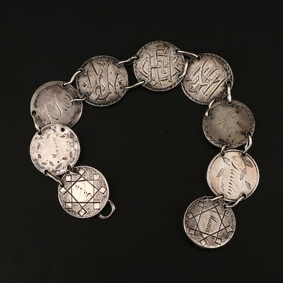 Antique Liberty Seated Silver Dime Love Token Bracelet