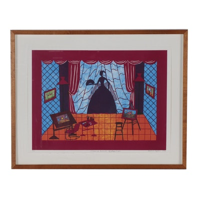"""Hollis Sigler Color Lithograph """"Stepping Outside of Her Life"""""""