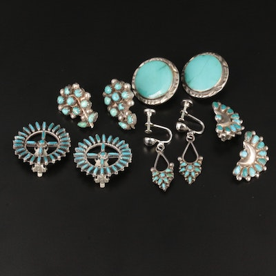 Southwestern Style Sterling Silver and Silver Tone Turquoise Earrings