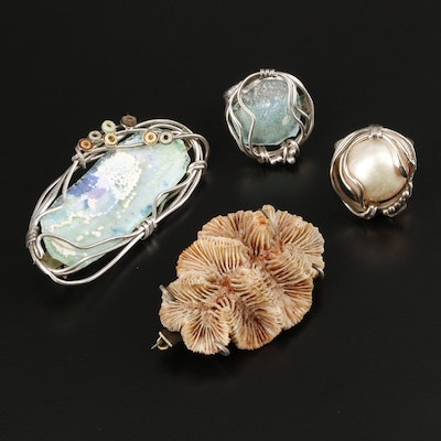 Sterling Silver Pearl and Gemstone Rings and Brooches Featuring Wire Wrapping