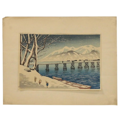 Japanese Ukiyo-e Woodblock of Winter Landscape