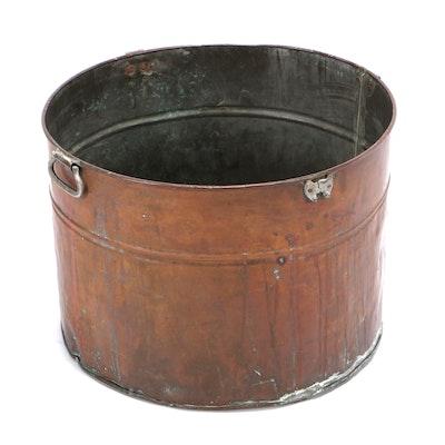 Large Copper Round Wash Tub, Vintage