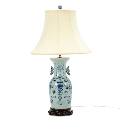Chinese Blue and White Table Lamp with Carved Wood Base and Szoke Shade