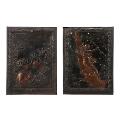 Victorian Embossed Metal Fireplace Summer Covers With Figural Scenes, Antique