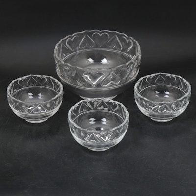 "Tiffany & Co. ""Hearts"" Pressed Glass Bowls"
