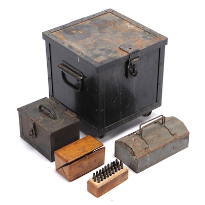 Metal Storage Box Assortment With Various Hand Tools and Sewing Attachments