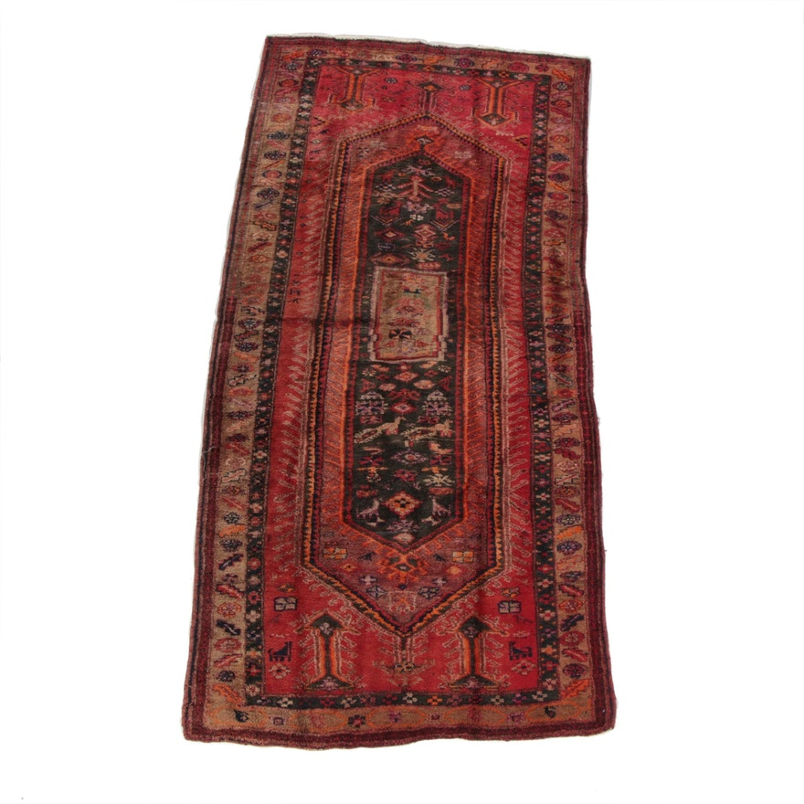 4'2 x 9'0 Hand-Knotted Persian Qashqai Pictorial Wool Long Rug