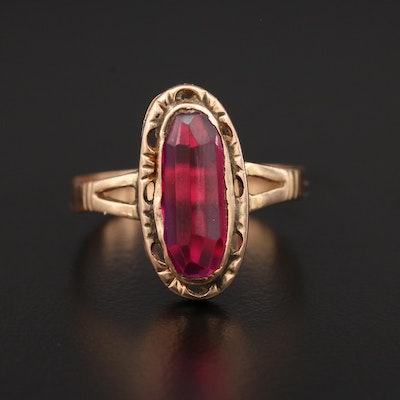 Victorian 14K Yellow Gold Ruby Ring