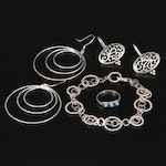Sterling Jewelry Assortment Including a Southwest Style Ring