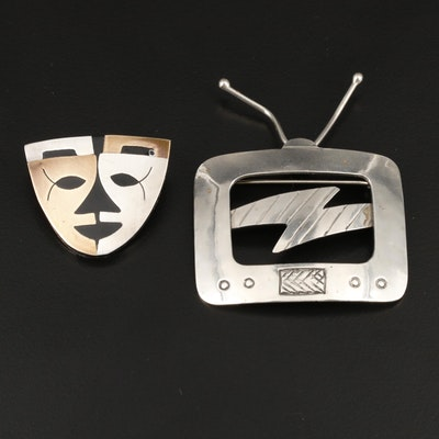 Vintage and Southwestern Sterling Silver TV and Mask Brooches