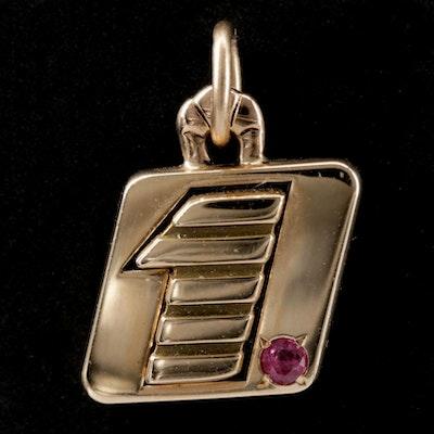 "14K Yellow Gold Ruby ""1"" Charm Pendant"