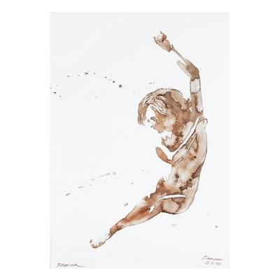 Anastasija Serdnova Watercolor Painting of Nude Female