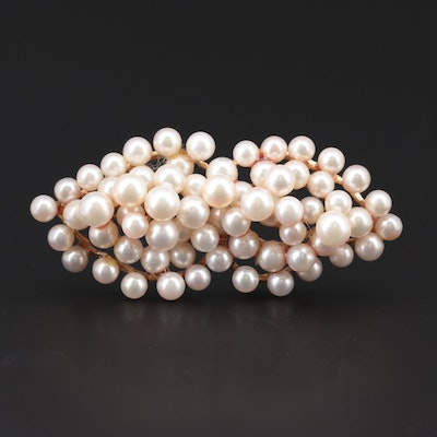 Vintage 14K Yellow Gold Cultured Pearl Brooch