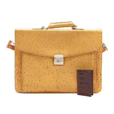 Cleo & Patek Paris Leather Briefcase and Paul Stuart Alligator Skin Card Case