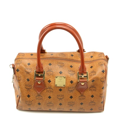 MCM Heritage Boston Satchel in Cognac Viseto Coated Canvas and Leather, Vintage