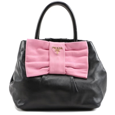 Prada Lambskin Leather Begonia Bow Handbag in Black with Pink Bow