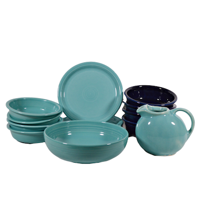 Fiesta Turquoise and Cobalt Dinnerware, Mid-20th Century