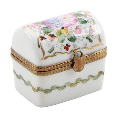 Rochard Hand-Painted Porcelain Floral Dome Top Limoges Box